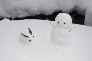 雪だるま雪うさぎ